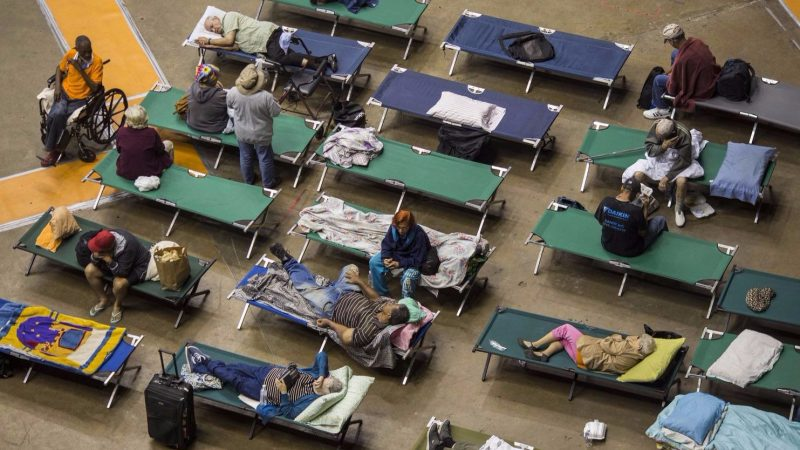 People on cots at a shelter